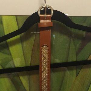 Jcrew belt with woven straw pattern size M medium